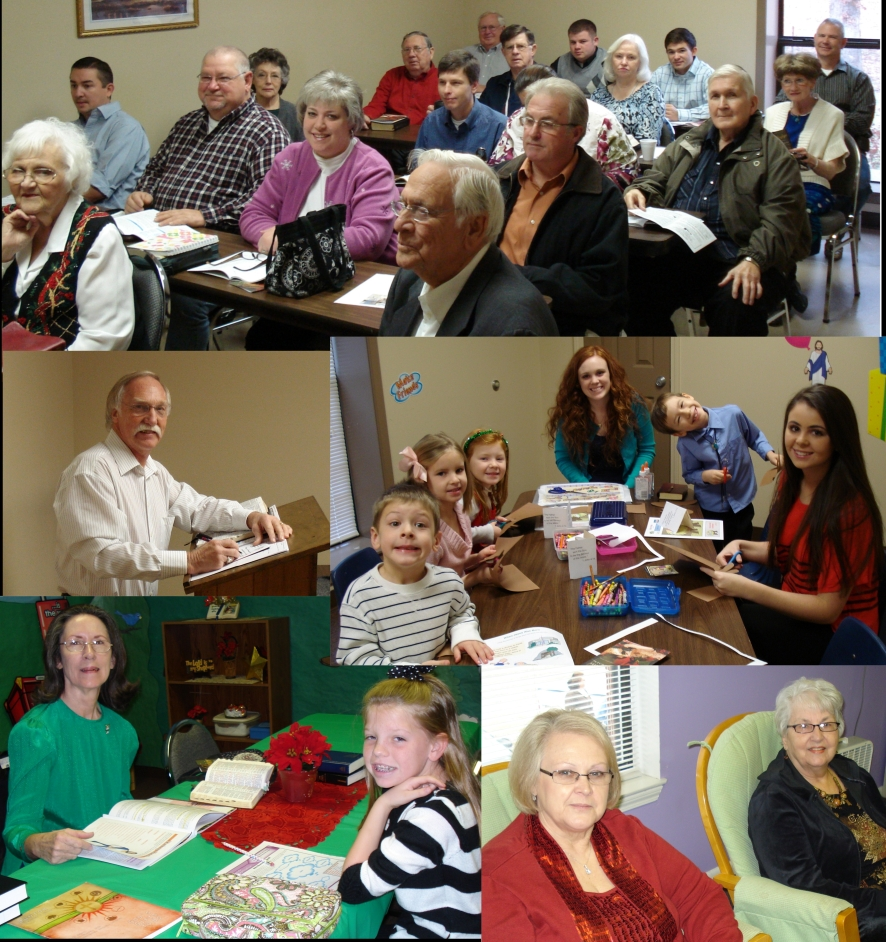 Pictures of members and sunday school classes in progress.